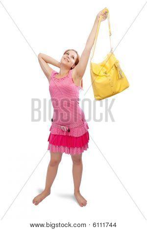 Happy Girl  With Yellow Handbag