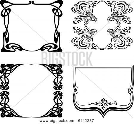 Four Black And White Art Deco Frames.