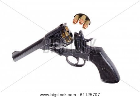 Antique British Webley Mark VI revolver with the asction open and cartridges in a c clip, isolated over white