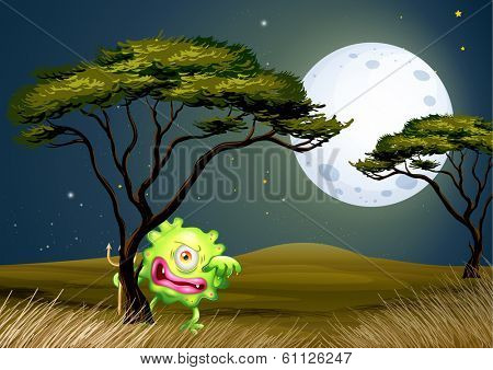 Illustration of a scared one-eyed monster under the fullmoon