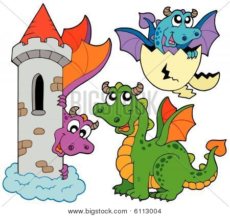 Cute dragons collection on white background - vector illustration. poster