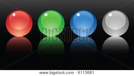 Glss balls on black background