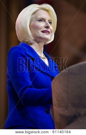 NATIONAL HARBOR, MD - MARCH 8, 2014: Author Callista Gingrich speaks at the Conservative Political Action Conference (CPAC).