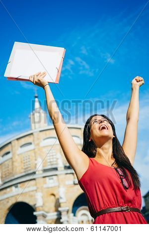 Successful Student Raising Arms