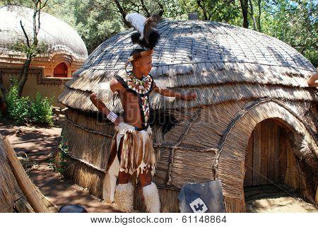 Zulu Warrior Man In Lesedi Cultural Village, South Africa.