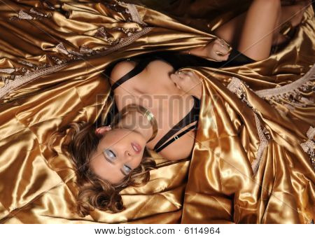Girl With Gold  Silk