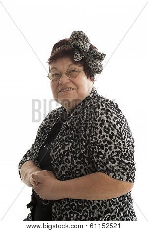 Portrait of senior woman on a white background