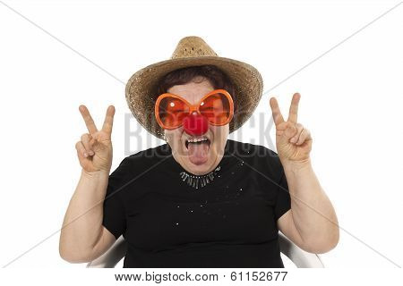 portrait of the cheerful elderly woman