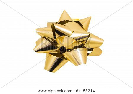 Shiny Gold Bow On White Background