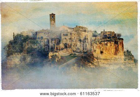 civita di Bagnoregio - ghost town in Italy, vintage picture