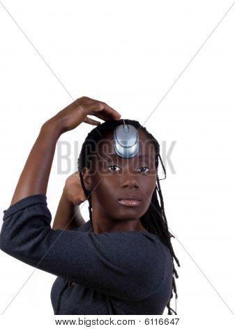 Young Black Woman With Computer Mouse On Head