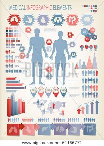 Medical infographics elements. Human body. Vector.