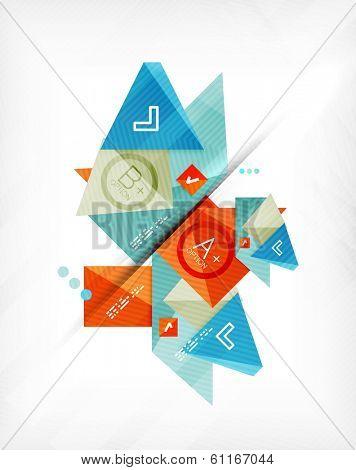Futuristic abstract 3d infographic composition. Paper geometric shapes with options and space for text. Can be used for web banners, printed materials, business presentations