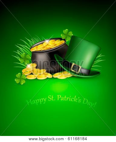 Saint Patrick's Day background with clover leaves, green hat and gold coins in a cauldron. Raster version