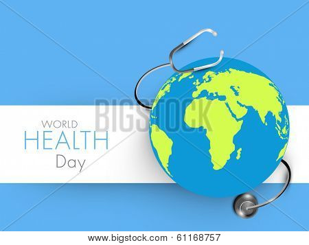 Abstract world heath day concept with globe on blue background.