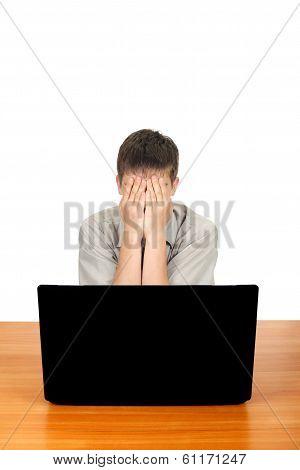 Sad Teenager With Laptop