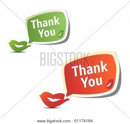 Set of bright colorful stickers Thank You