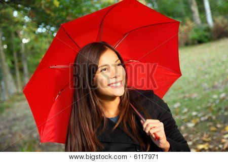 Red Umbrella Woman