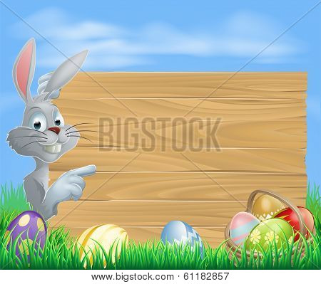 Easter Rabbit Pointing At Message