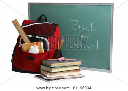 Back to School still life with green chalkboard red backpack and books on white