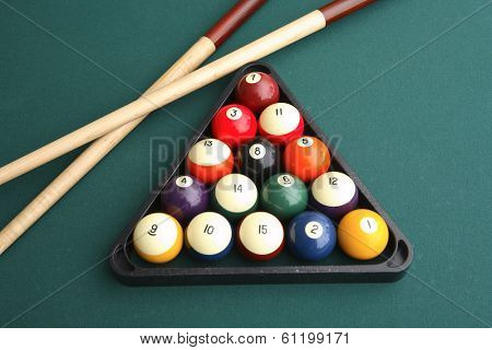 Still life of billiards table with two cues and rack of balls  poster