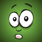 a green hand drawn shocked cartoon face poster