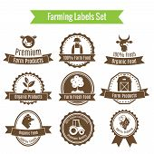 Farming harvesting and agriculture badges or labels set on white background isolated vector illustration poster