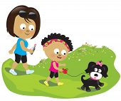 Illustration of a mother and daughter walking their dog poster