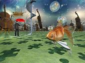 Surreal scene with various elements poster