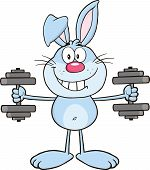 Smiling Blue Rabbit Cartoon Character Training With Dumbbells poster