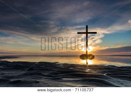 Low Tide Cross Sunset
