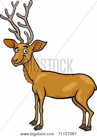 Wapiti Deer Cartoon Illustration