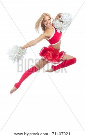 Cheerleader Dancer From Cheerleading Team Jumping
