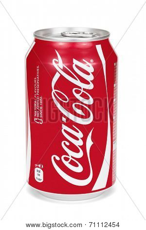 ESTONIA - AUGUST 16, 2014. Coca-Cola can isolated on the white background,clipping path included. Coca-Cola Company is the leading manufacturer of soda drinks in the world.