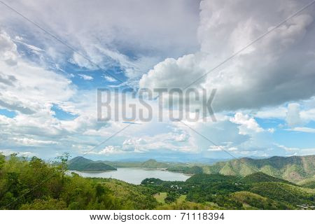 landscape with mountain trees and blue sky