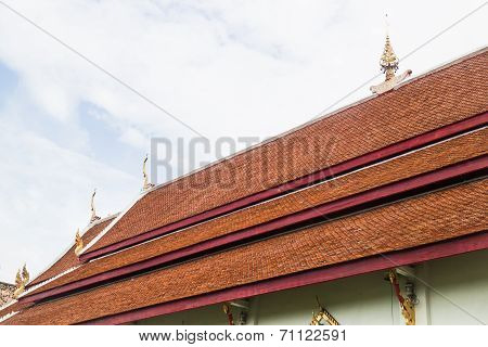 Ancient Roof Of Thai Temple In Chiang Mai