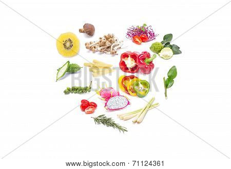 Colorful Set Fruits And Vegetables.