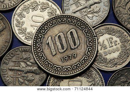 Coins of South Korea. South Korean one hundred won coin.
