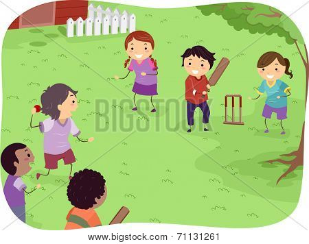 Illustration Featuring Kids Playing Cricket