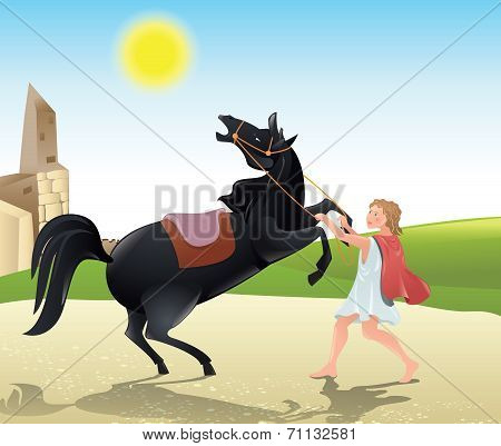 Man tames the horse - color illustration poster