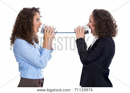 Communication Or Gossip Concept: Screaming Woman Having Troubles
