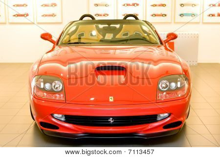 Modena, Italy - July 09: Red Sport Car Ferrari At Exhibition Of Ferrari Cars On July 09, 2008 In Mod