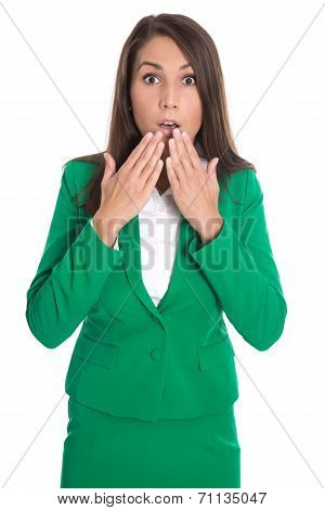 Shocked Isolated Business Woman In Green Dress.