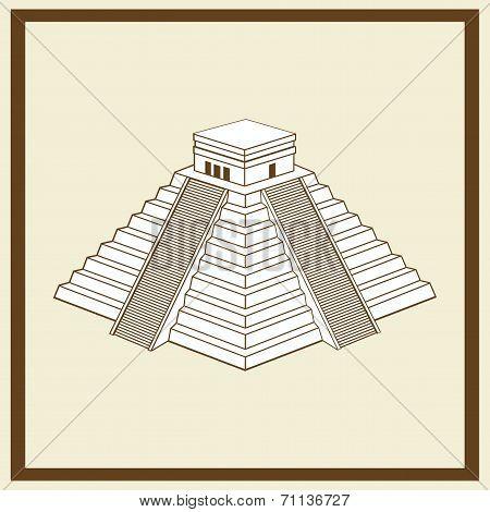 Vector Illustration of maya ziggurat postcard