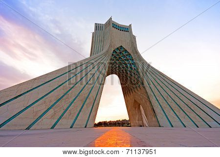 Azadi tower at sunset