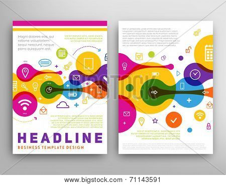 Abstract Triangle Geometric Vector Brochure Template. Flyer Layout. Flat Style. Infographic Elements. Set of Line Icons.