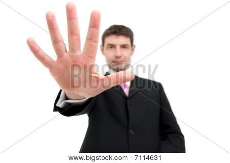 Businessman Holding Up Five Fingers