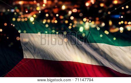 Kuwait National Flag Light Night Bokeh Abstract Background