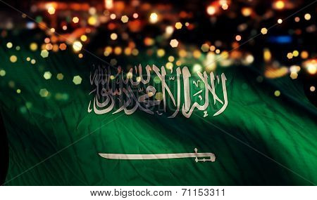 Saudi Arabia National Flag Light Night Bokeh Abstract Background