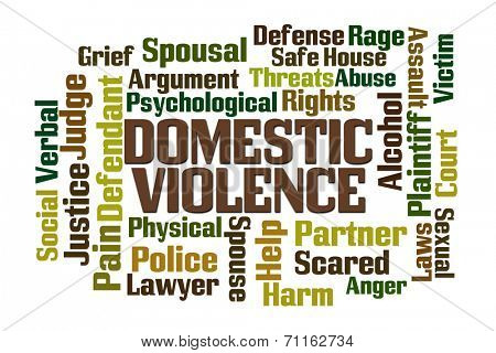 Domestic Violence word cloud on white background